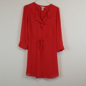 H & M red ruffled 3/4 sleeve dress size 6